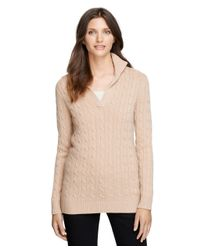 Brooks Brothers | Natural Cashmere Cable Tunic Sweater | Lyst