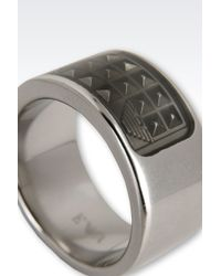 Emporio Armani - Metallic Ring for Men - Lyst