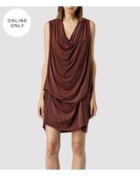 AllSaints - Purple Amei Sleeveless Dress - Lyst