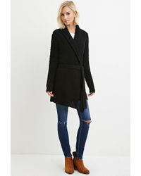 Forever 21 - Black Belted Longline Cardigan You've Been Added To The Waitlist - Lyst