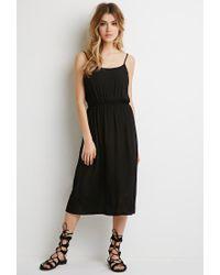 Forever 21 - Black Shirred Gauze Midi Dress - Lyst