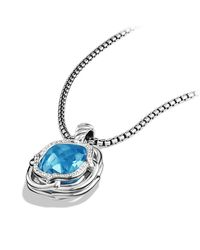 David Yurman - Blue Labyrinth Medium Pendant With Diamonds - Lyst