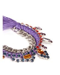 Joomi Lim - Purple Cotton Braid Crystal Bracelet - Lyst