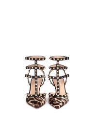 Valentino - Multicolor Rockstud Leopard Calf-hair Caged Pumps - Lyst
