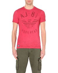 Armani Jeans | Red Logo-print Slim-fit Cotton-jersey T-shirt for Men | Lyst