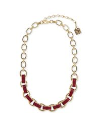 Anne Klein - Metallic Goldtone and Cranberry Leather Multi Link Collar Necklace - Lyst