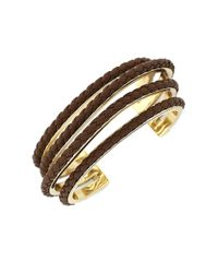 Cole Haan | Metallic Four-strand Braided Leather Bracelet | Lyst