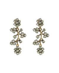 Oscar de la Renta | Black Crystal Branch Earrings | Lyst