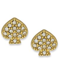 kate spade new york - Metallic New York Earrings, 12K Gold-Plated Crystal Signature Spade Stud Earrings - Lyst