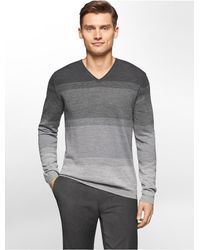 Calvin Klein | Gray White Label Merino Wool Ombre Striped V-neck Sweater for Men | Lyst