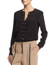 Belstaff - Black Grommet-trim Tunic Blouse - Lyst