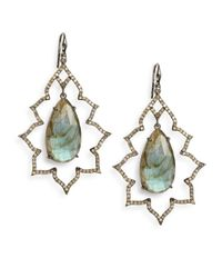 Bavna - Blue Labradorite Pavã Champagne Diamond  Blackened Sterling Silver Arabesque Teardrop Earrings - Lyst