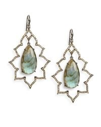 Bavna | Blue Labradorite Pavã Champagne Diamond  Blackened Sterling Silver Arabesque Teardrop Earrings | Lyst