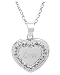 Amanda Rose Collection - Metallic Sterling Silver Crystal Love In Heart Pendant With Swarovski Elements - Lyst