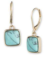 Anne Klein | Blue Goldtone Turquoise Drop Earrings | Lyst