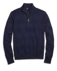 Brooks Brothers - Blue Textured Stripe Half-zip Sweater for Men - Lyst