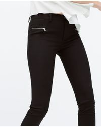 Zara | Black Seamed Trousers With Zips | Lyst