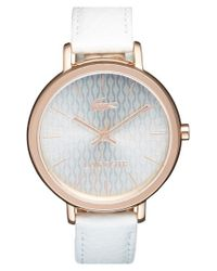 Lacoste | White 'nice' Guilloche Dial Leather Strap Watch | Lyst