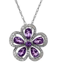 Lord & Taylor | Purple Amethyst, Diamond And Sterling Silver Pendant Necklace | Lyst