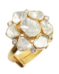 Amrapali | Metallic Gold And Natural Cut Diamond Adjustable Back Ring | Lyst
