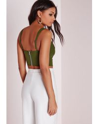 Missguided - Natural Deep Plunge Bralet Khaki - Lyst