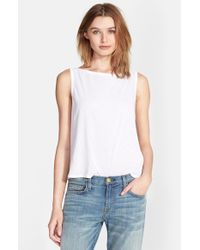 Enza Costa - White Scoop Back Tissue Jersey Tank - Lyst
