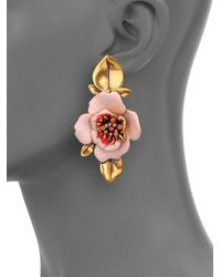 Oscar de la Renta | Pink Painted Flower Clip-On Drop Earrings | Lyst