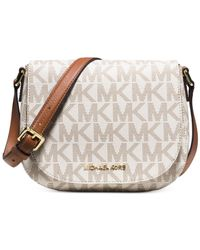 Michael Kors | Metallic Michael Signature Bedford Medium Flap Messenger | Lyst