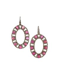 Bavna | Purple Composite Ruby & Diamond Pave Oval Drop Earrings | Lyst