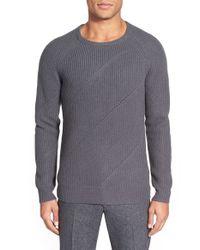 J.Lindeberg Gray 'arvid' Crewneck Raglan Sweater for men