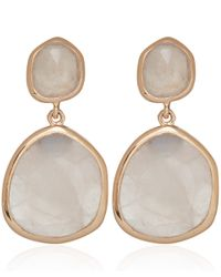 Monica Vinader | Metallic Medium Rose Gold Vermeil Rose Quartz Siren Drop Earrings | Lyst