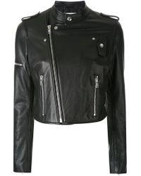 Scanlan Theodore - Black Cropped Leather Biker Jacket - Lyst