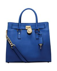 Michael Kors | Blue Michael Hamilton Saffiano Leather Tote | Lyst