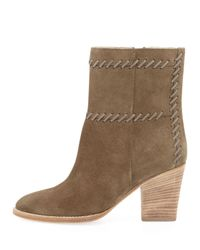 Aquatalia | Natural Felice Stitched Suede Bootie Military | Lyst