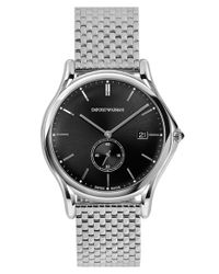 Emporio Armani | Metallic Round Bracelet Watch for Men | Lyst