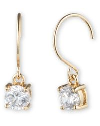 Anne Klein - Metallic Gold Tone Crystal Drop Earrings - Lyst