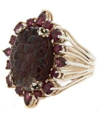 Stephen Dweck | Purple Silver Quartz And Garnet Carved Floral Ring | Lyst