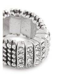 Philippe Audibert | Metallic Rhinestone Pavé Elastic Ring | Lyst
