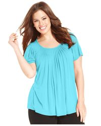 Style & Co. | Blue Plus Size Short-sleeve Pleated Top | Lyst