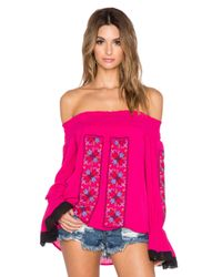 Vava By Joy Han Pink Magnolia Off The Shoulder Top