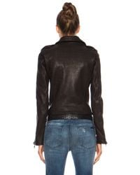 RTA | Black Snake Embossed Biker Leather Jacket | Lyst