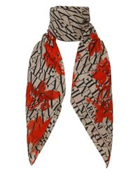 Armani Jeans | Natural Floral Logo Long Scarf | Lyst