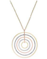 Michael Kors - Metallic Tri-Tone Circle Large Pendant Necklace - Lyst