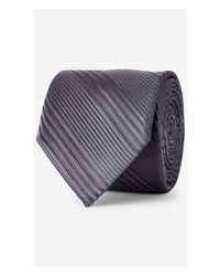 Express | Gray Narrow Textured Diagonal Stripe Silk Tie for Men | Lyst