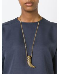 Tory Burch | Metallic Stone Horn Pendant Necklace | Lyst