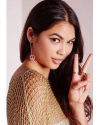 Missguided | Metallic Peace Earrings Gold | Lyst