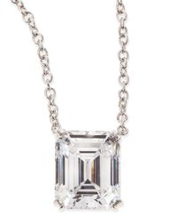 Fantasia by Deserio - Metallic 6.0 Carat Cubic Zirconia Emerald-Cut Pendant Necklace - Lyst
