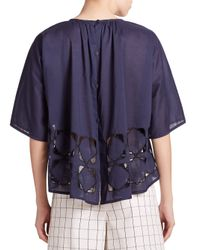 Tibi - Blue Embroidered Mosaic Cutout Top - Lyst
