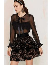 Nasty Gal | Black Sheerest And Dearest Ruffle Blouse | Lyst