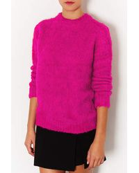 TOPSHOP - Pink Knitted Brushed Funnel Jumper - Lyst